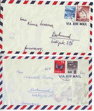 2 Japan Luftpostbriefe nach Deutschland 1958 + 1961