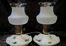 SET of 2 VINTAGE TORCH STYLE LAMPS - White Porcelain Bases, Frosted Glass Shades