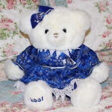 "27"" Tb Toy Trading White Christmas Girl Teddy Bear 2004 Blue Snowflake Dress"