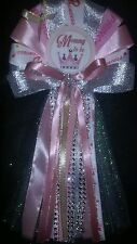 Mommy Baby shower corsage silver and pink Princess crown
