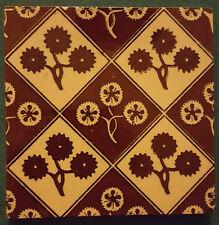 Antique Minton Hollins Tile, Arts & Crafts Stencil, Brown Flowers