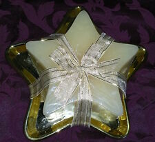 Roman Inc Large 3-wick Star Shaped Candle w/Gold Reusable Dish Tray