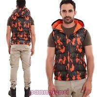 Hombre chaqueta sin mangas cazadora de aviador acolchado capucha camuflaje