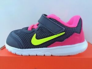 Nike Girls NON-TIE  Sneakers Black/Volt/Pink Pow/White NEW Little Girls Size 7