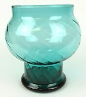 Vintage Hand Blown Teal Vase Optic Swirl 5 Inch MCM Gift Idea