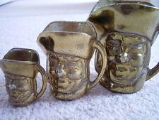 OTTONE Antico METAL Ware in miniatura Toby Tazza, Set di 3 PEZZI