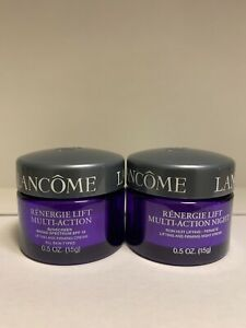 2 Lancome Renergie Lift Multi Action Lifting  DAY & NIGHT Cream 0.5 oz/15 g each