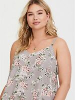 Womens Torrid Sophie Grey Floral Tie Georgette Swing cam top SIZE 0 L Large 12