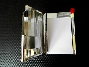 Notiz-Etui  Metall -verchromt 85 x 55mm mit verschließendem Kugelschreiber