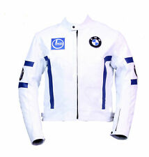 BMW WHITE AND BLUE STRIPS RACING  MOTORBIKE  LEATHER JACKET CE APPROVED