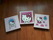 """3 tableaux cadre ' hello kitty """" Chambre deco bois Rose"""