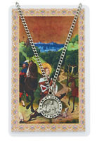 St. Hubert, Patron Saint of Hunters, Medal Necklace with Laminated Prayer Card