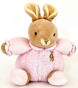 "Baby Bow Russ Berrie Bitty Plush Soft Rattle Bunny Rabbit Pink Stuffed Lovey 8"""