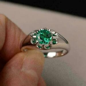 2Ct Round Cut Green Emerald Solitaire Mens Engagement Ring 14K White Gold Finish