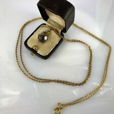 Antique Russian Gold-mounted miniature Smoke Topaz Egg pendant with Chain, 1896