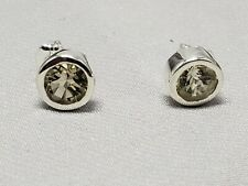 Sterling silver earrings, bezel,smoky quartz, 6mm stones, new, hand set #2