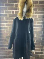 NWT Vince Camuto Black Wool Faux Fur Trim Hooded Coat Women's Size L