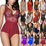 Women Sexy Lace Bodysuit Lingerie V Neck Stretch Leotard Tops Bodysuit Jumpsuit