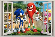 Sonic Super Smash Bros 3D Window View Decal WALL STICKER Decor Art Tails H106