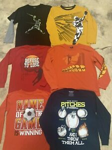 Lot of 6 Boys Long Sleeve 100% Cotton T-Shirts size 10/12 Sports Theme
