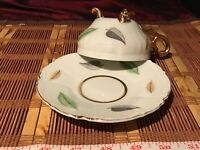 Porcelain Hand Painted Leaf Footed Tea Cup & Saucer w/ Gold Edges