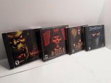 Blizzard Pc Games Lot, WarCraft 3, Diablo 2 with expansion set & StarCraft 1