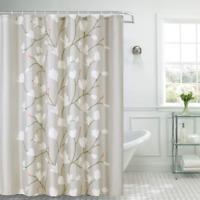 Shower Curtain Fabric Grey Flowers with Hooks Bath Curtain Waterproof, 72x72