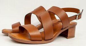 Franco Sarto Leather Heel Light Brown Sandals w/Asymmetrical Strap Lilah 8W $99