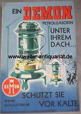 Demon Petrolgasofen Ditmar Brünner Wien um 1935 Ofen Prospekt Reklame Werbung