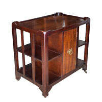 Vintage Chippendale Style Cherry TV Cart Side Table