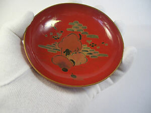 Japanese antique wooden small red bowl the Japan traditional landscape #8286
