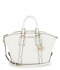 Michael Kors Bedford Belted Medium Pebble Leather Satchel (Optic White)
