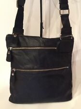 "MARGOT Black Glove Leather 13"" x 12"" Slim Cross-Body Shoulder Bag Double Zipper"