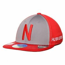 YOUTH NEBRASKA CORNHUSKERS NCAA (TOTW) STRETCH ONE FIT RED GRAY HAT CAP ONE SIZE