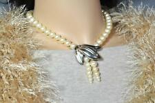 Richelieu Pearl Necklace Silver Leaf Accent Center Lustrous Richelieu Pearls