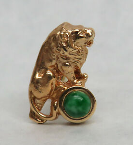 VINTAGE 14K GOLD JEWELED LION  LAPEL PIN