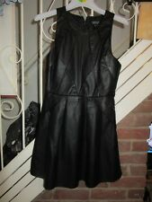 BNWT £52 UK 10 TOPSHOP Dress Black Faux Leather Skater US 6 EU 38 Party Sexy