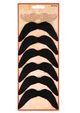 6 x Fake Moustache Black Mexican 70's Stick on Fake Mustache Self Adhesive Tash