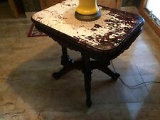 Antique Victorian TABLE-Marble Top & Walnut Parlor Style-19th Century Lamp Table