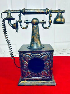 Vintage Imperial Classique Tin Metal Rotary Style Phone Decorating Art Ornate