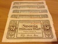 Lot Of 5 X German Banknotes. 20 Million Mark. Dated 1923. Notgeld.