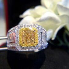 Canary Yellow & White Diamond 18K White Gold Over Beautiful Classic Men's Ring