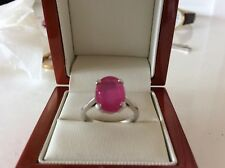 Stunning Natural large 4.65 carats Ruby Solitaire 9ct White Gold Ring