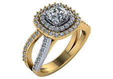 1.8 ct GIA F VS2 cushion cut diamond double halo engagement ring 18k 2 tone gold