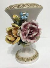 Vintage Capodimonte 2 Flowers Vase Made In Italy