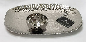 PAMPA BAY RECTANGLE TITANIUM PORCELAIN HAMMERED SERVING TRAY & SMALL BOWL
