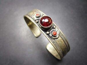 B1040 Garnet Stone Gypsy Tribal Dorje FASHION Bangle Cuff BRACELET Nepal Jewelry