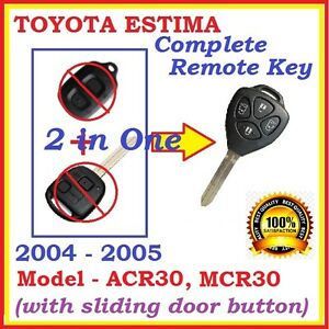 FOR TOYOTA ESTIMA TARAGO REMOTE KEY JAPANESE VERSION ACR30 4 BUTTONS - 2 in 1