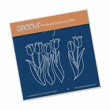 CLARITY STAMP GROOVI BABY A6 Parchment Embossing Plate TULIPS GRO-FL-40158-01