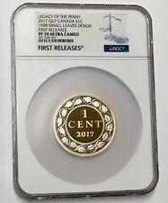 2017 Canada Gilt 1C Legacy Of The Penny 1908 Small Leaves Design NGC PF 70
